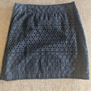 Patterned Navy Blue Pencil Skirt